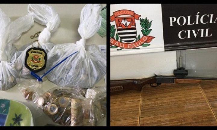 Operação da Polícia Civil apreende drogas, arma de fogo e dinheiro