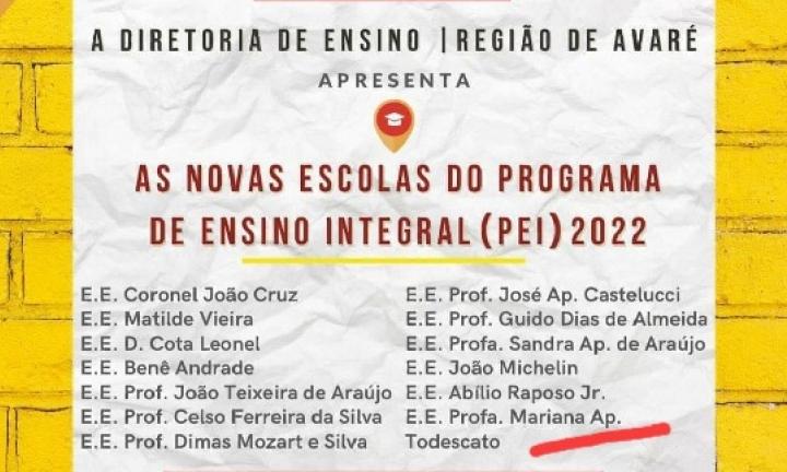Avaré terá mais 6 escolas de Ensino Integral em 2022