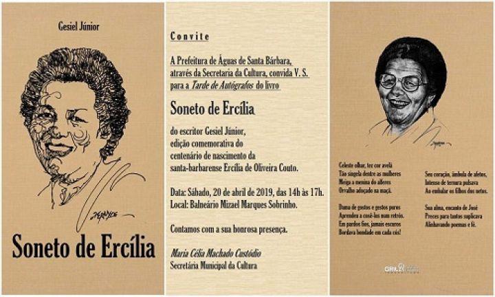 Gesiel Júnior autografará Soneto de Ercília no Balneário