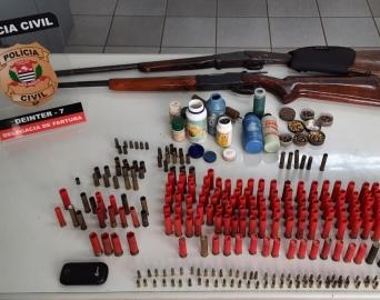 Homem é preso na zona rural com duas espingardas e farta munição