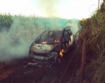 Carro fica totalmente destruído após atolar e pegar fogo
