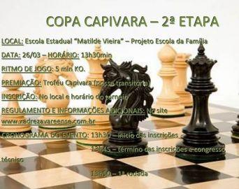 Neste domingo tem a 2ª Etapa da Copa Capivara de Xadrez