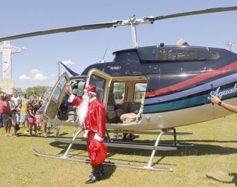 Papai Noel chega de helicóptero neste sábado em Avaré