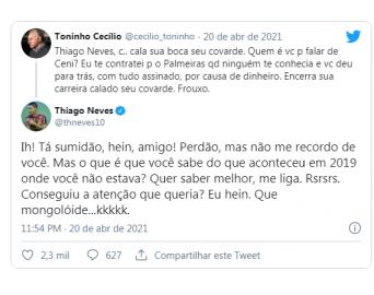 Avareense Toninho Cecílio bate boca com jogador Thiago Neves