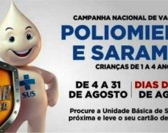 Vacinação contra pólio e sarampo começa neste sábado