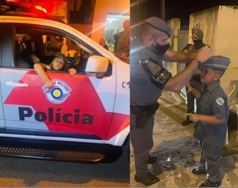 Garoto aniversariante recebe visita surpresa da Polícia Militar